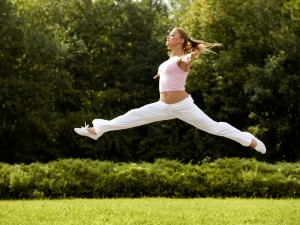 woman leaping in air